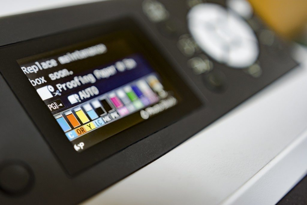 printer showing its available ink