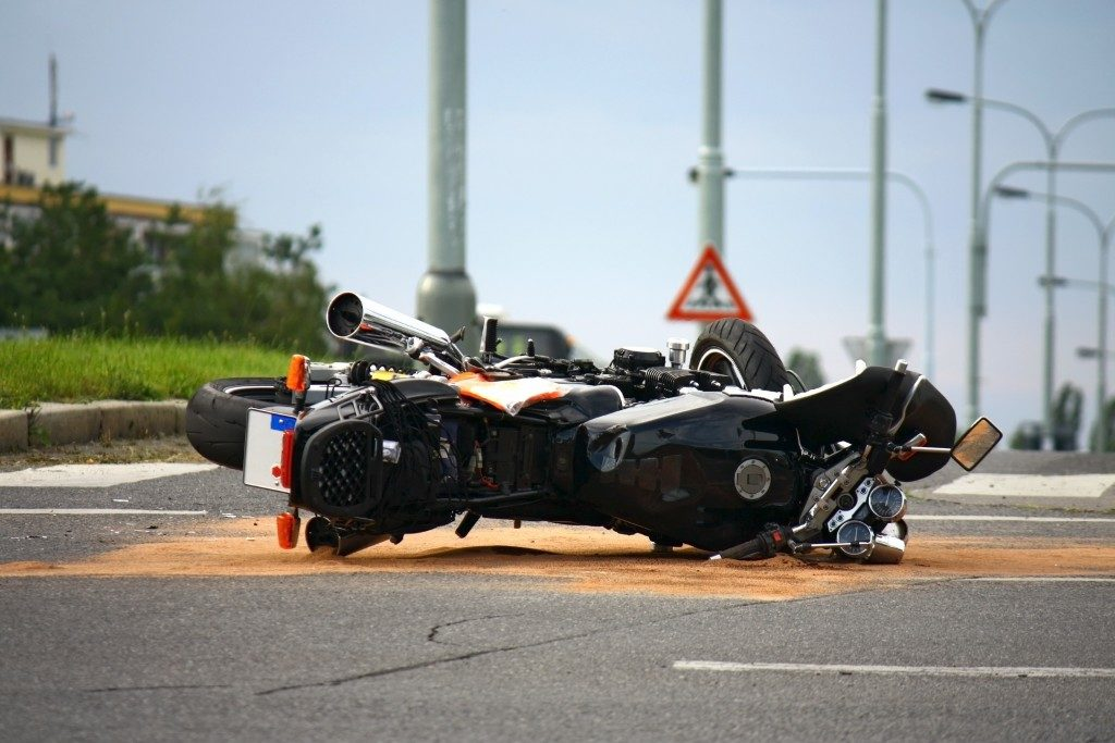a motorcycle accident on the road