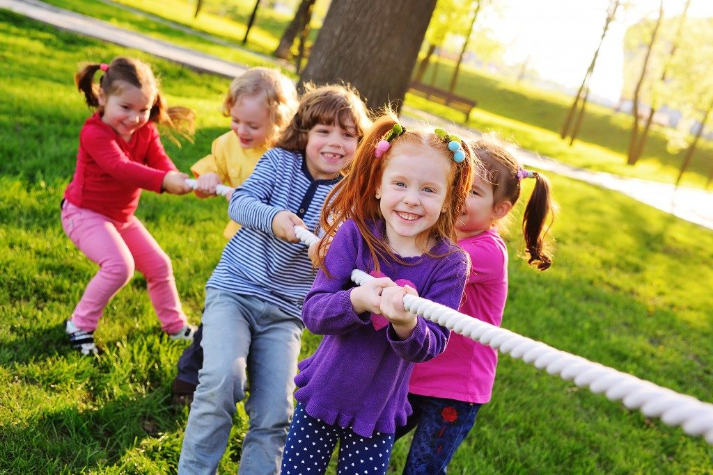 children having fun playing outdoor
