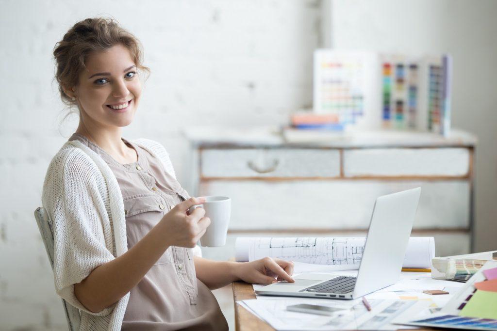 woman freelancer at home