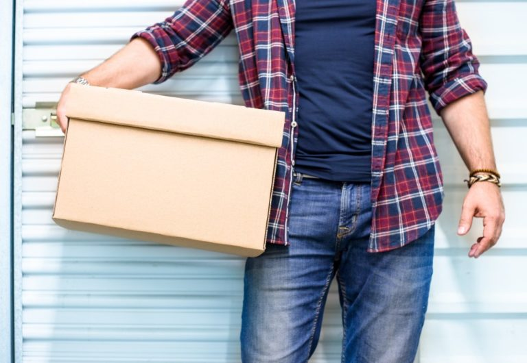 man with box, moving