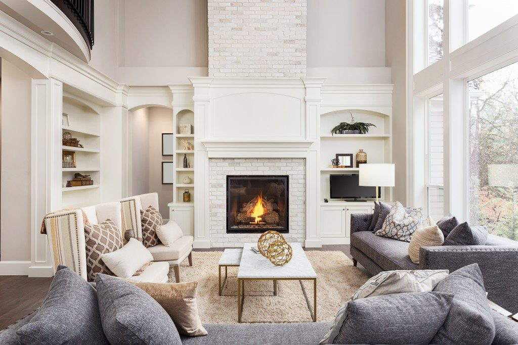large living room with fireplace