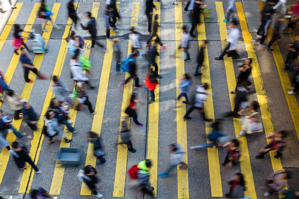 people crossing the street