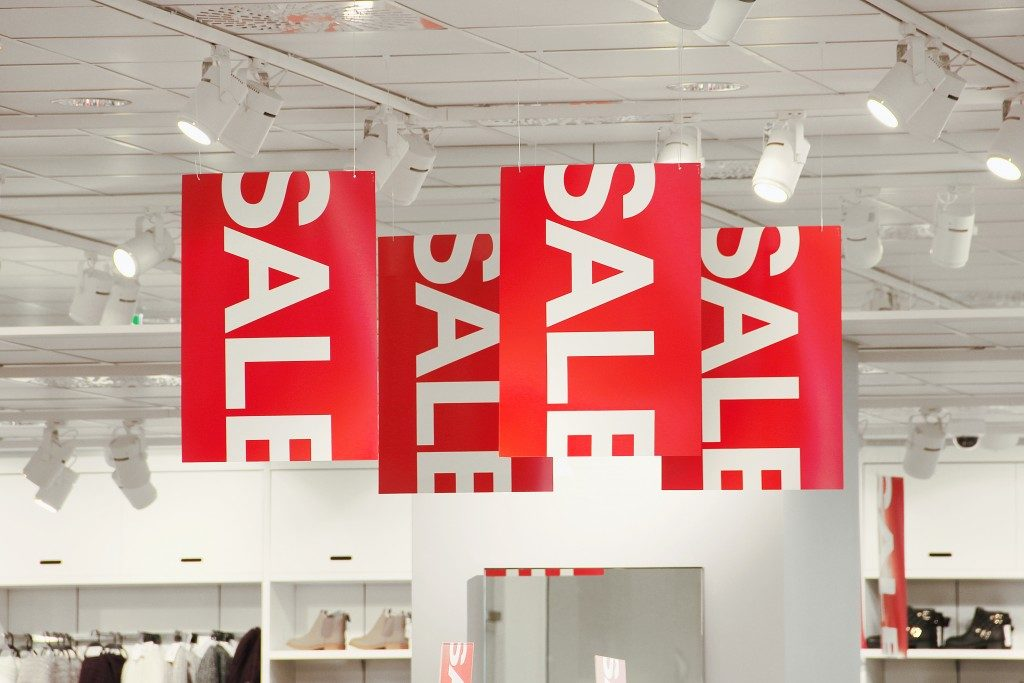 sales banners in a store