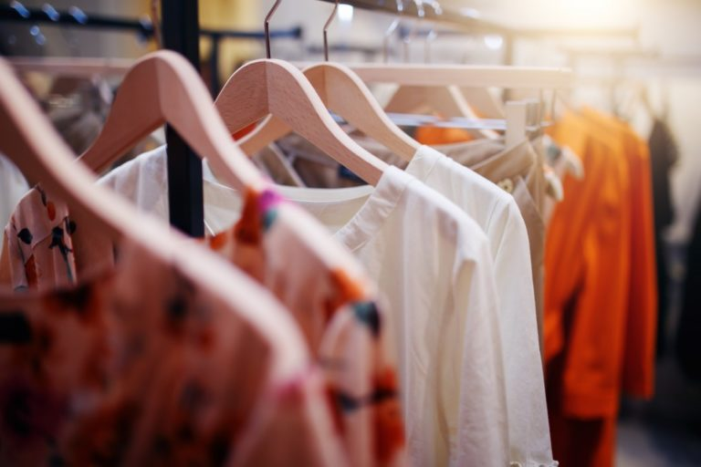 clothes in wooden hanger