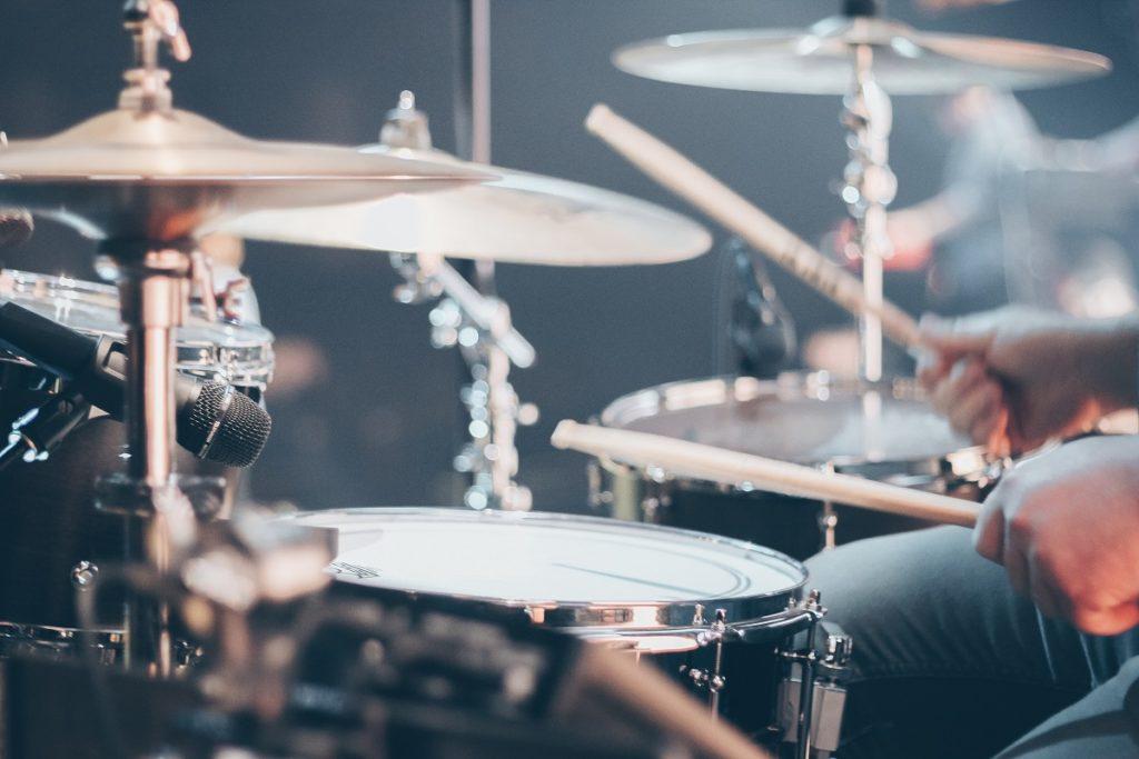 close up shot of a drum set