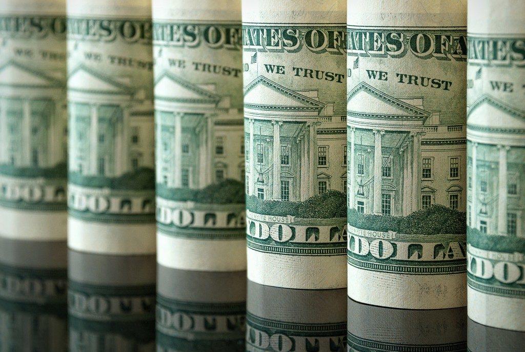 row of money