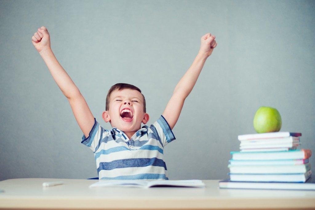 student feeling happy