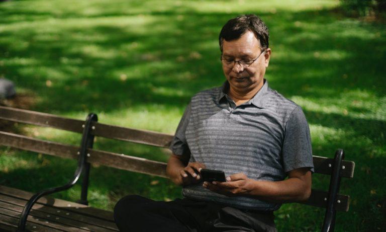 man browsing on his phone