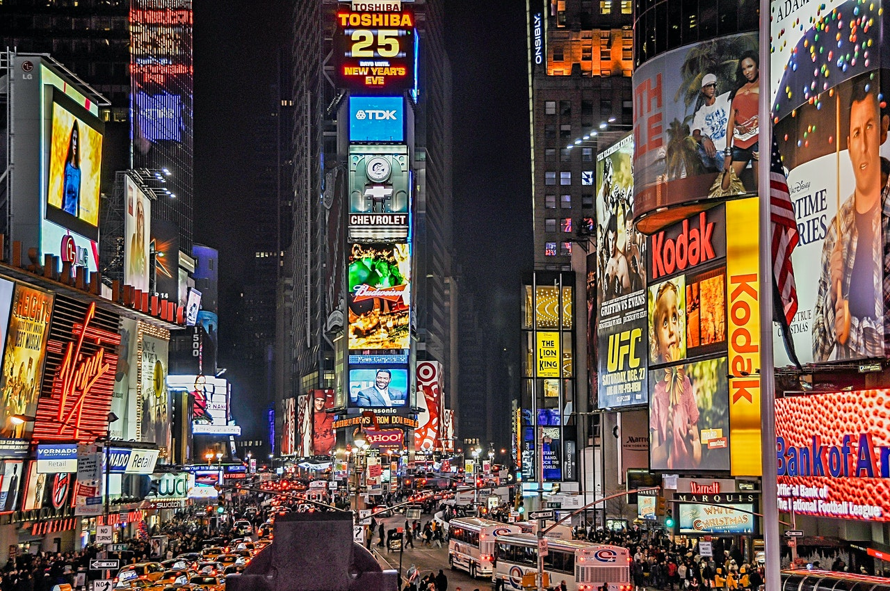 times square filled with advertisement
