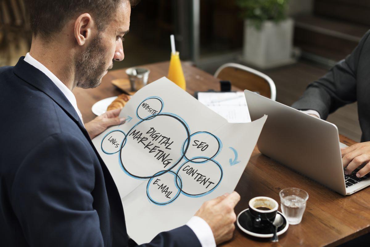 business man reading marketing plan