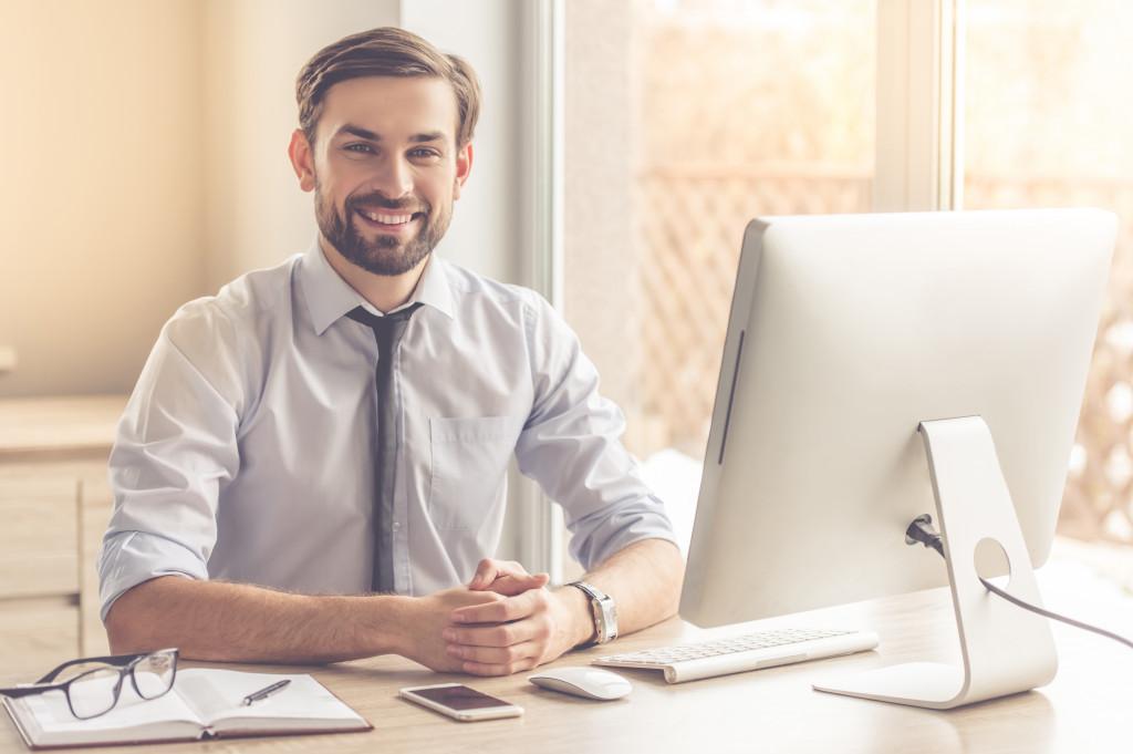 entrepreneur with computer