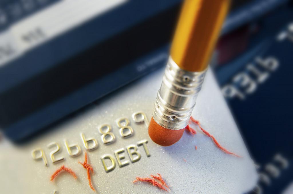 erasing debt debit card